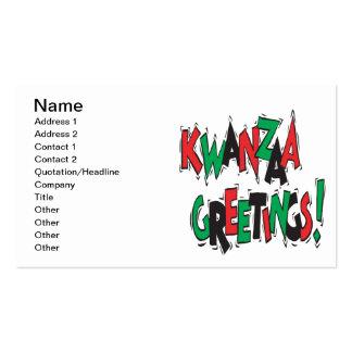 Saludos de Kwanzaa Tarjetas De Visita