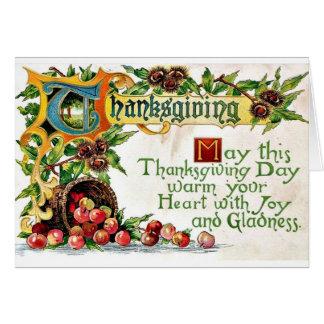 Saludos de la acción de gracias del vintage tarjeta de felicitación
