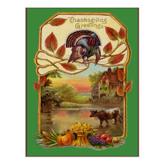 Saludos de la acción de gracias del vintage tarjetas postales