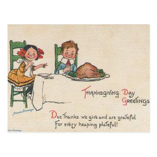 Saludos de la acción de gracias del vintage postales