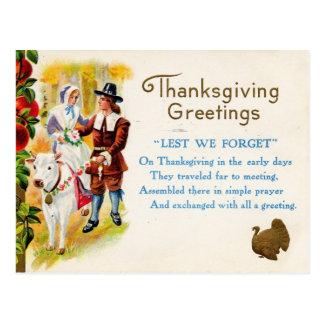 Saludos de la acción de gracias tarjeta postal