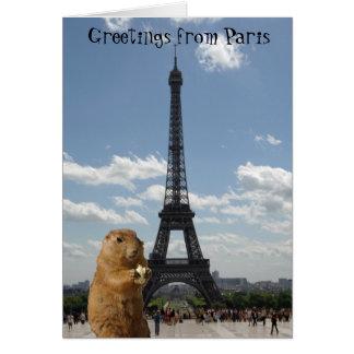 Saludos de la ardilla de la torre Eiffel Tarjetón