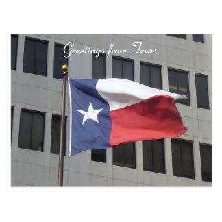 saludos de la bandera de Tejas Postal