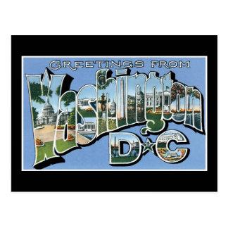 ¡Saludos de la C.C. de Washington! Postal del vint