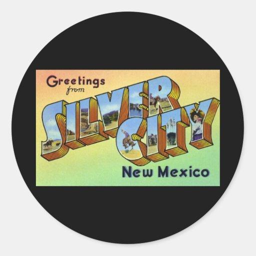 Saludos de la ciudad de plata New México Pegatina Redonda
