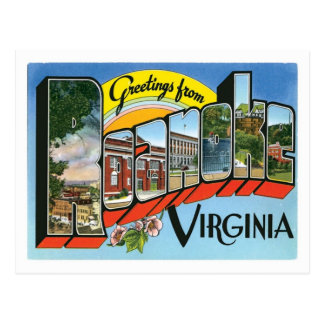 Saludos de la ciudad de Roanoke Virginia los Tarjetas Postales