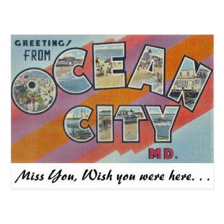 Saludos de la ciudad del océano, Maryland Tarjeta Postal