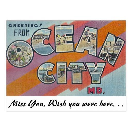 Saludos de la ciudad del océano, Maryland Postales
