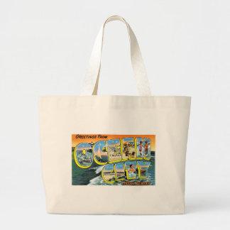 ¡Saludos de la ciudad del océano, New Jersey! Bolsa Tela Grande