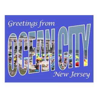 Saludos de la ciudad del océano tarjetas postales
