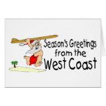 Saludos de la costa oeste que practican surf Santa Felicitacion