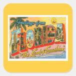 Saludos de la Florida Pegatina Cuadrada