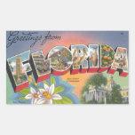 Saludos de la FLORIDA Pegatina Rectangular