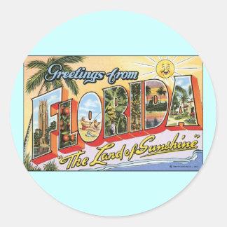 Saludos de la Florida - viaje del vintage Etiquetas