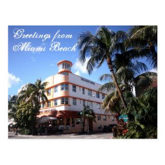 Saludos de la impulsión del océano en Miami Beach Postal