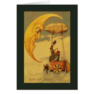 Saludos de la luna y de los aviones del vintage tarjetas