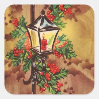 Saludos de la luz del coche del navidad pegatina cuadrada