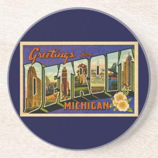 ¡Saludos de la obra clásica de Detroit Michigan! Posavasos Diseño