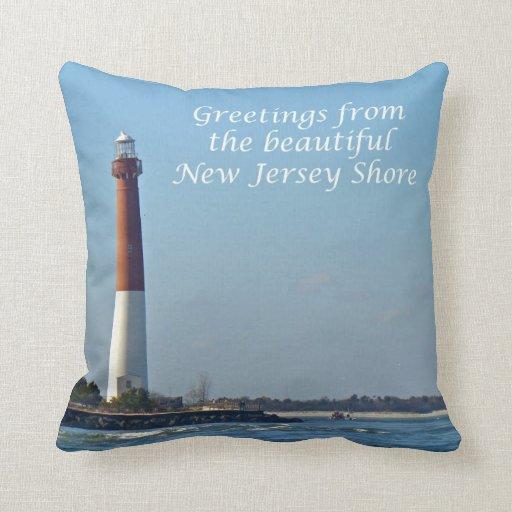 Saludos de la orilla de New Jersey - luz de Barneg Almohada