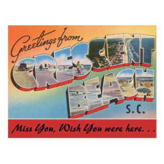 Saludos de la playa creciente postal