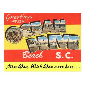 Saludos de la playa de la impulsión del océano postal