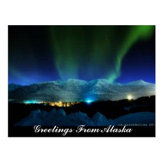 Saludos de la postal de la aurora de Alaska