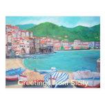 Saludos de la postal de Sicilia