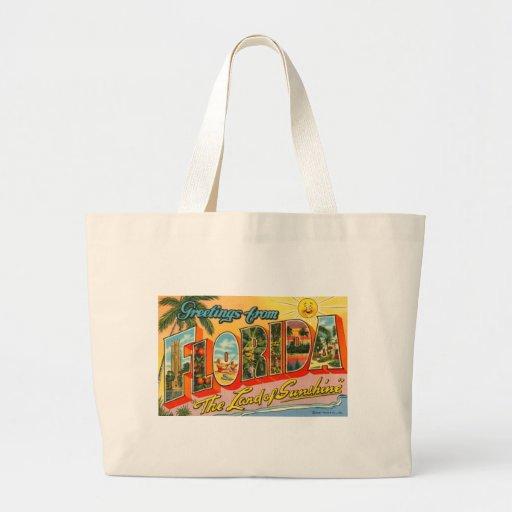 Saludos de la postal del vintage de la Florida Bolsas