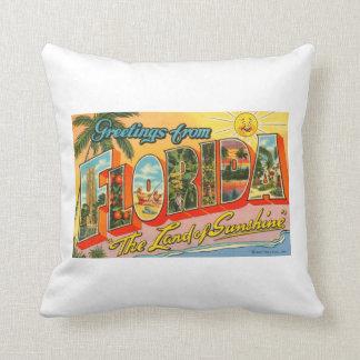 Saludos de la postal del vintage de la Florida Cojin