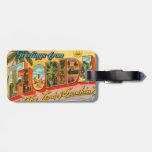 Saludos de la postal del vintage de la Florida Etiqueta Para Equipaje