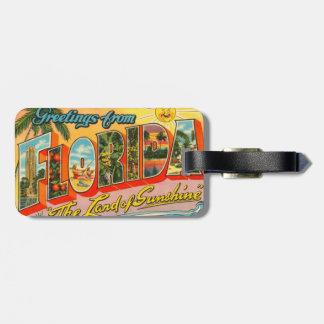 Saludos de la postal del vintage de la Florida Etiquetas Maletas