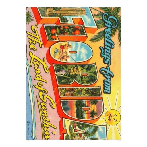 """Saludos de la postal del vintage de la Florida Invitación 5"""" X 7"""""""