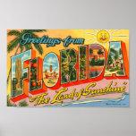 Saludos de la postal del vintage de la Florida Posters