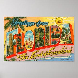 Saludos de la postal del vintage de la Florida Póster
