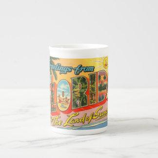 Saludos de la postal del vintage de la Florida Taza De Porcelana