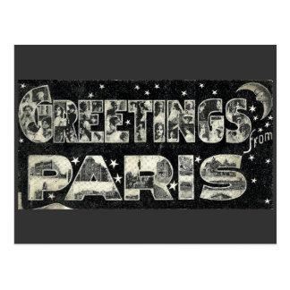 Saludos de la postal del vintage de París
