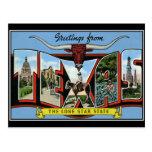 Saludos de la postal del vintage de Tejas