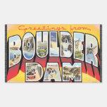Saludos de la presa de Boulder, vintage Pegatina Rectangular