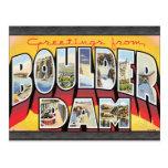 Saludos de la presa de Boulder, vintage Tarjeta Postal