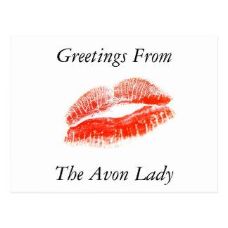 Saludos de la señora postal de Avon
