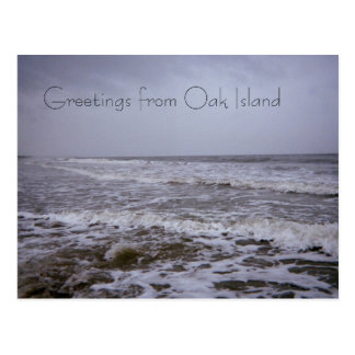 Saludos de las costas de la isla del roble postales