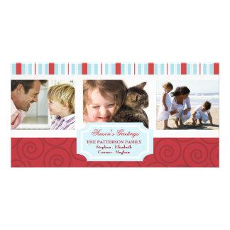 Saludos de las estaciones azules y collage rojo de tarjeta personal con foto