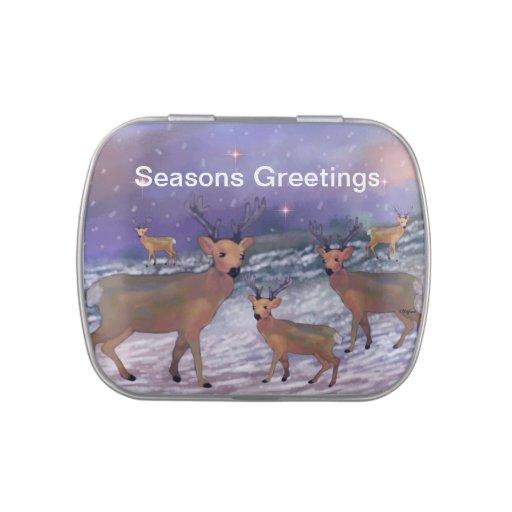 Saludos de las estaciones de las nevadas del reno frascos de caramelos