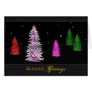Saludos de las estaciones de los árboles de navida tarjeta de felicitación