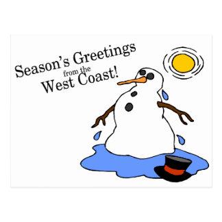 Saludos de las estaciones del muñeco de nieve de tarjetas postales