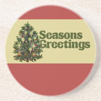 Saludos de las estaciones del navidad del vintage posavasos para bebidas