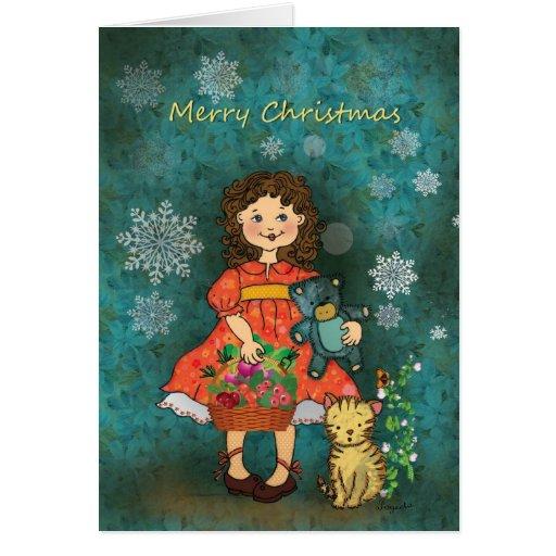 Saludos de las Felices Navidad de una niña linda Tarjetón