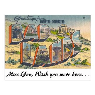 Saludos de las malas tierras, Dakota del Norte Tarjeta Postal