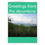 Saludos de las montañas tarjeta