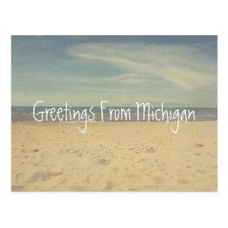 Saludos de las playas de Sandy del lago Michigan Tarjeta Postal